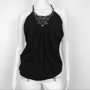 WHBM | Black Stone Embellished Halter Top Sz S